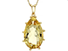 Citrine 18K Gold Over Sterling Silver Pendant With Chain 20ctw