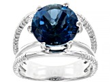 London Blue Topaz Rhodium Over Sterling Silver Solitaire Ring 5ctw