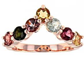 Multi-Tourmaline 14K Rose Gold Over Sterling Silver Ring 1.60ctw