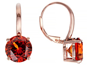 Orange Lab Created Padparadscha Sapphire 14K Rose Over Sterling Silver Earrings 8.80ctw