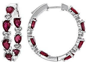Mahaleo Ruby Rhodium Over Sterling Silver Hoop Earrings 7.85ctw