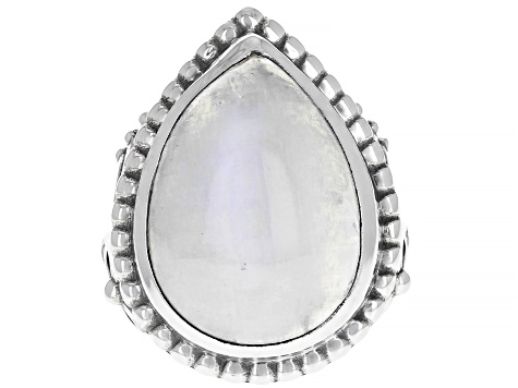 Rainbow Moonstone Sterling Silver Solitaire Ring