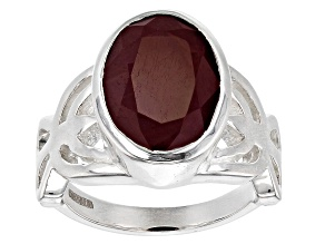 Ruby Sterling Silver Solitaire Ring 6.5ctw