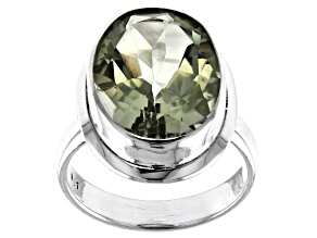 Prasiolite Solitaire Sterling Silver Ring 6ctw