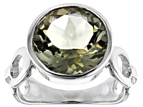Prasiolite Solitaire Sterling Silver Ring 3.75ctw