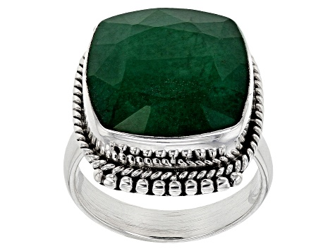 Green Beryl Solitaire Sterling Silver Ring