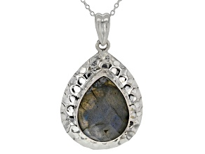 Gray Labradorite Solitaire Sterling Silver Pendant With Chain