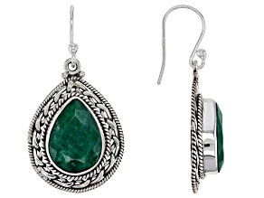 Green Beryl Solitaire Sterling Silver Dangle Earrings