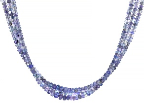 Tanzanite Bead Sterling Silver Necklace 185.00ctw