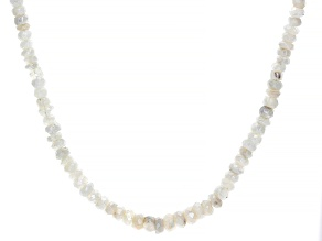 Moonstone Bead Sterling Silver Necklace 68ctw