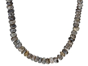 Gray Labradorite Bead Sterling Silver Necklace 87ctw