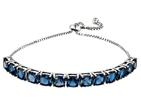 London Blue Topaz Rhodium Over Silver Bolo Bracelet 13.25ctw