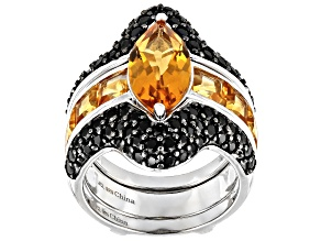 Yellow Citrine Rhodium Over Sterling Silver Ring Guard Set 6.44ctw