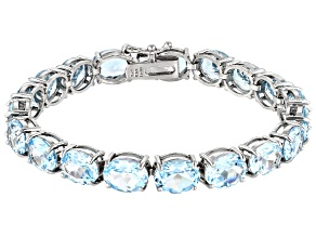 Blue Topaz Rhodium Over Sterling Silver Line Bracelet 44.00ctw