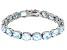 Blue Topaz Rhodium Over Sterling Silver Line Bracelet 44.00ctw