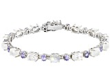 Rainbow Moonstone Rhodium Over Silver Bracelet 2.24ctw