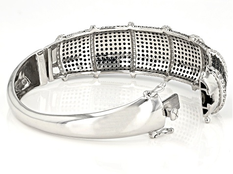 Black Spinel Rhodium Over Sterling Bangle Bracelet 13.45ctw