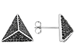 Black Spinel Rhodium Over Sterling Silver Pyramid Earrings .95ctw