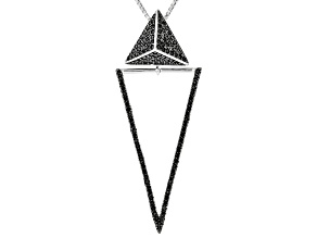 Black Spinel Rhodium Over Silver slide/Pendant With Chain 1.52ctw