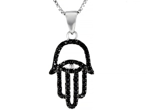 Black Spinel Rhodium Over Silver Hamsa Pendant With Chain .30ctw
