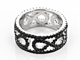 Black Spinel Rhodium Over Silver Eternity Band Ring 1.80ctw
