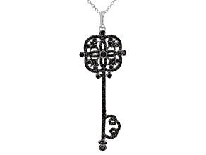 Black Spinel Rhodium Over Sterling Silver Pendant With Chain 1.18ctw