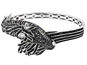 Black Spinel Rhodium Over Sterling Silver Horse Bracelet 7.13ctw