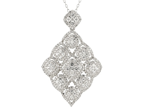 White Zircon Rhodium Over Sterling Silver Pendant With Chain 4.25ctw