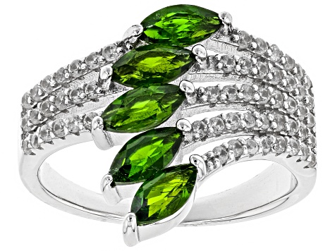 Chrome Diopside Rhodium Over Sterling Silver Ring 2.0ctw