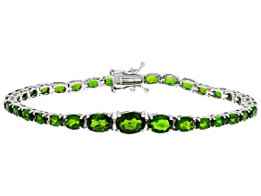 Chrome Diopside Rhodium Over Sterling Silver Tennis Bracelet 11.98ctw