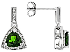 Chrome Diopside Rhodium Over Sterling Silver Dangle Earrings 1.99ctw