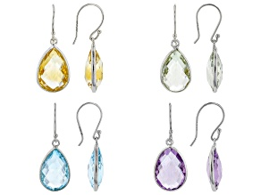 Mixed-Gemstone Rhodium Over Sterling Silver Set of 4 Pairs Earrings 42.00ctw