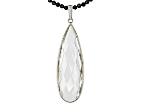 Crystal Quartz Pendant Rhodium Over Silver Necklace 37.00ctw