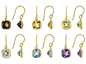 Multi-Gemstone 18k Gold Over Sterling Silver Set of 6 Dangle Earrings 31.00ctw