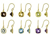 Mixed-Gem 18k Yellow Gold Over Silver Set of 6 Pairs Earrings 31.00ctw