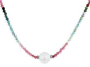 Multi-Tourmaline Bead Rhodium Over Silver Necklace 16.00ctw