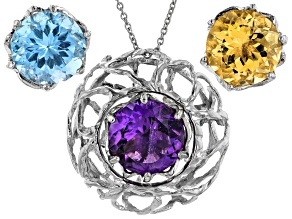 Multi-Gemstone Rhodium Over Silver Interchangeable Pendant 16.00ctw