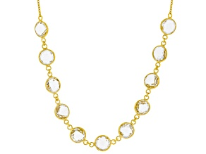 White Topaz 18k Yellow Gold Over Silver Necklace 24.00ctw