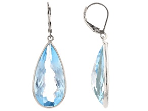 Blue Topaz Rhodium Over Silver Dangle Earrings 34.00ctw