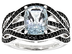 Aquamarine Rhodium Over Sterling Silver Ring 2.4ctw
