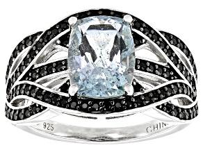Aquamarine Rhodium Over Sterling Silver Ring 2.4ctw