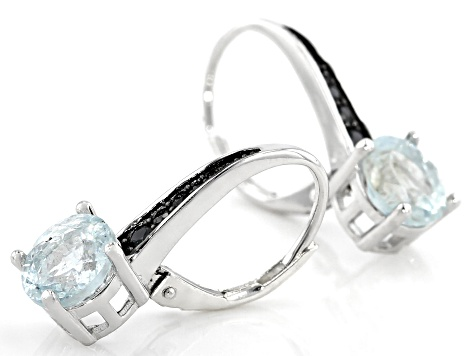 Aquamarine Rhodium Over Sterling Silver Earrings 2.6ctw