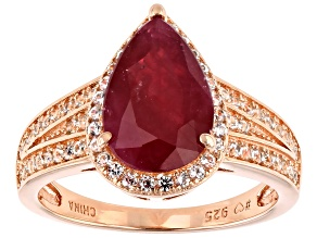 Mahaleo(R) Ruby 18K Rose Gold Over Silver Center Design Ring 4.9ctw