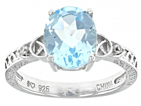 Sky Blue Topaz Rhodium Over Silver Ring 3.04ctw