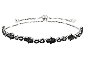 Black Spinel Rhodium Over Sterling Silver Bolo Bracelet 1.43ctw