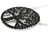 Black Spinel Rhodium Over Sterling Silver Tree Of Life Pendant 1.00ctw