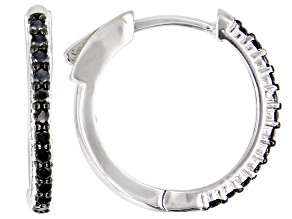 Black Spinel Rhodium Over Sterling Silver Hoop Earrings 0.48ctw