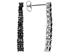 Black Spinel Rhodium Over Sterling Silver Dangle Earrings 3.25ctw
