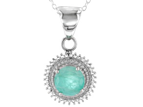 Green Brazilian Emerald Sterling Silver Pendant With Chain 1.78ctw