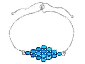 Neon Blue Opal Sterling Silver Bolo Bracelet 3.00ctw